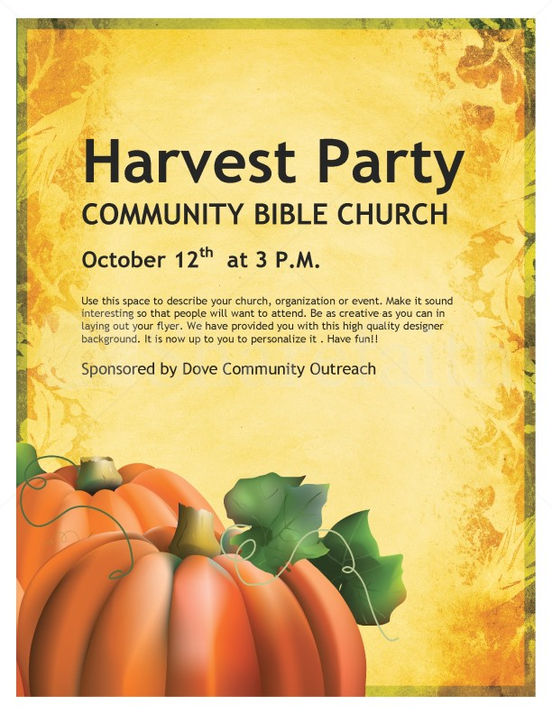 Harvest Celebration Church Flyer Template Flyer Templates