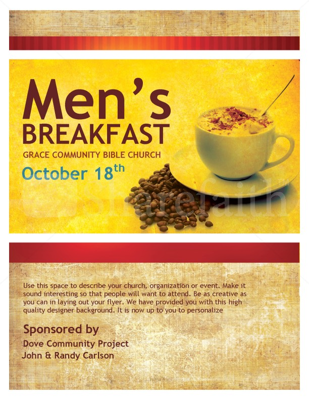 Mens Breakfast Christian Flyer  Christian Flyer Templates
