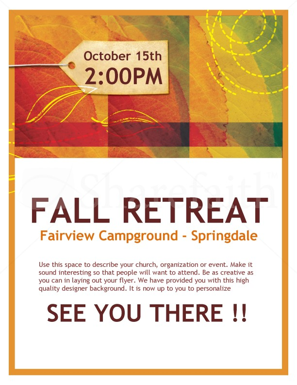fall retreat church flyer template flyer templates