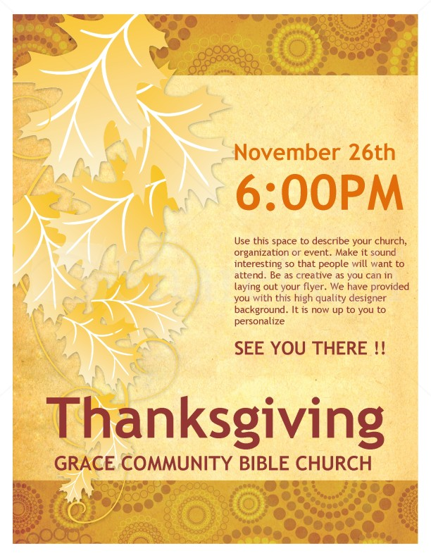Thanksgiving Church Flyer Template – Free Template for Flyers Microsoft Word