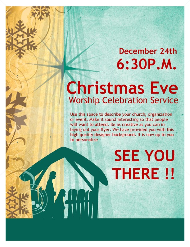 Christmas Eve Service Church Flyer Template  Flyer Templates