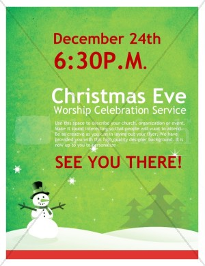 Snowman Christmas Church Flyer
