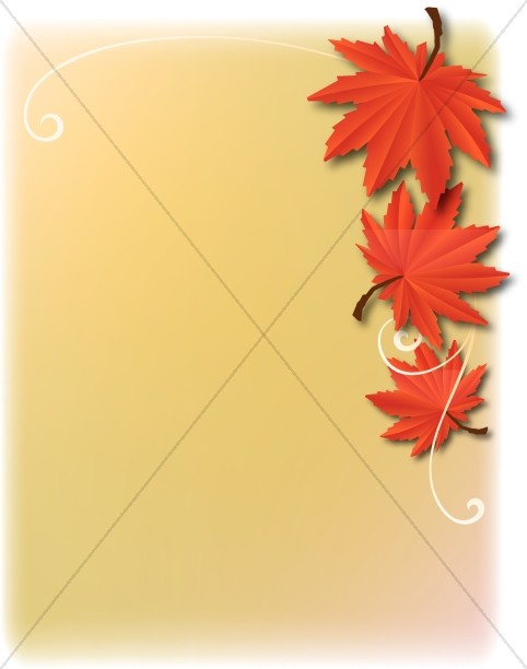 Three Red Leaves Church Clipart