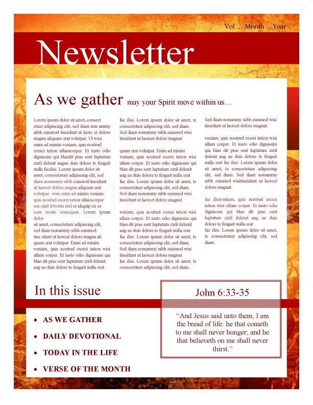 Fall Leaves Church Newsletter Template Newsletter Templates - Daily newsletter template