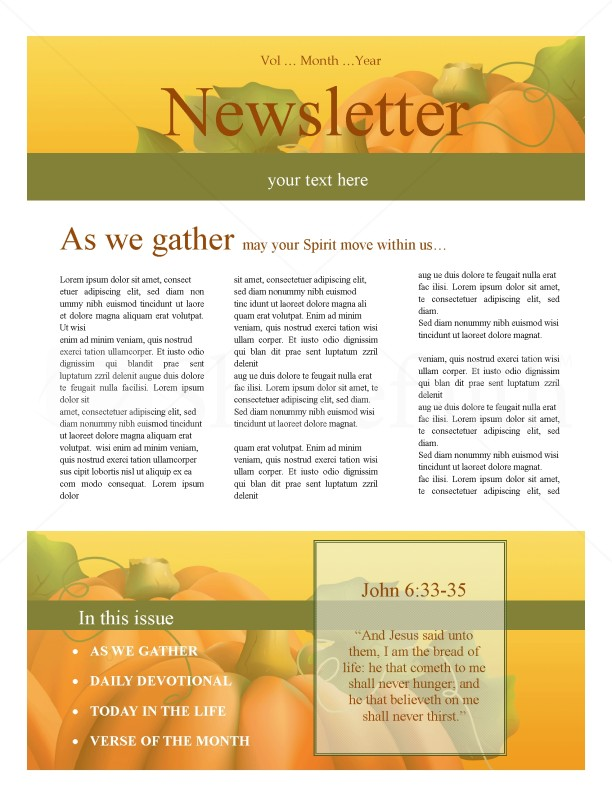 Harvest Time Church Newsletter Template Newsletter Templates - Daily newsletter template