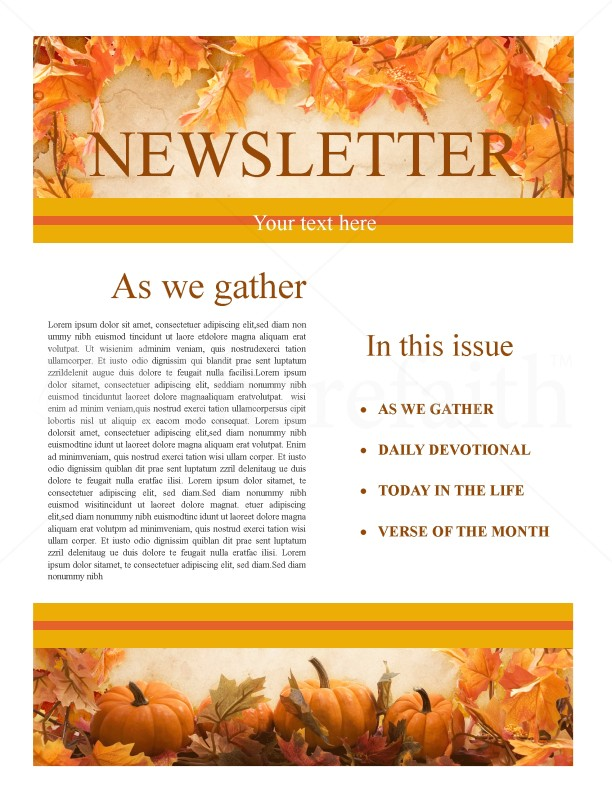 Thanksgiving Church Newsletter Template Newsletter Templates - Daily newsletter template