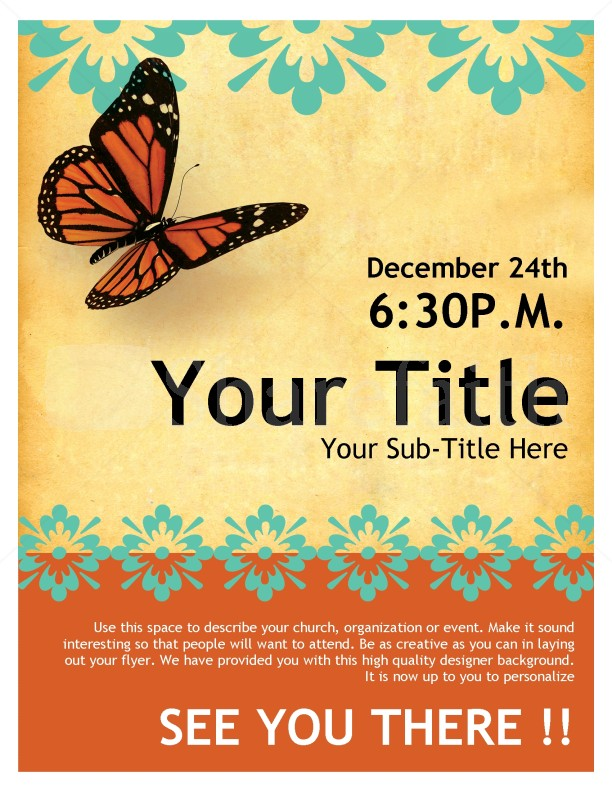Church Flyer Butterfly Template – Free Template for Flyers Microsoft Word