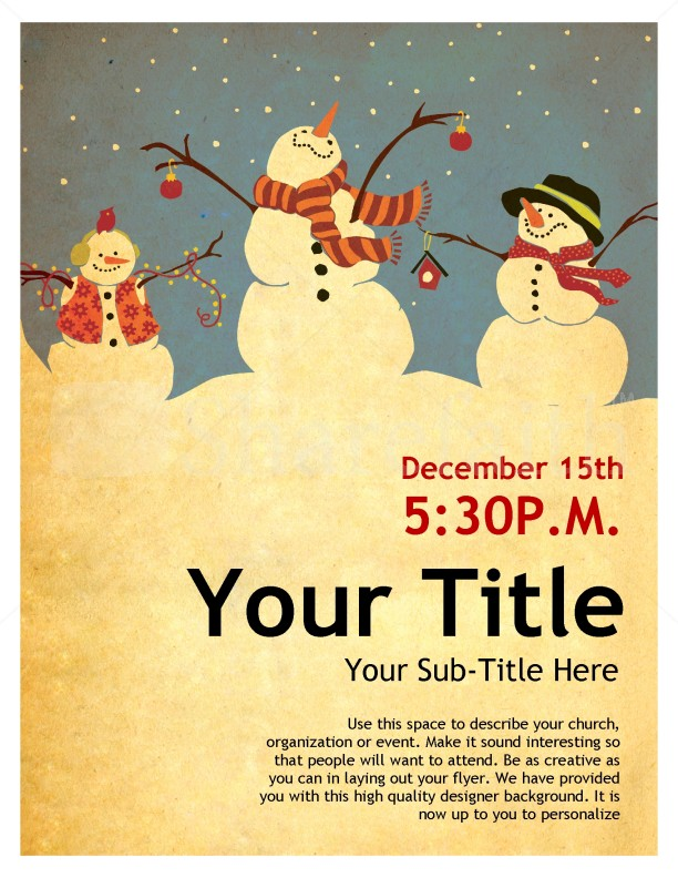 Snowman Christmas Flyer Template Flyer Templates