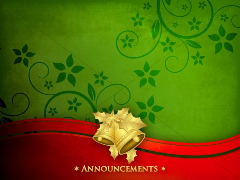 Christmas Bells Announcement Background | Church Announcements