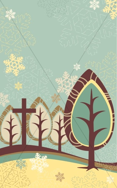 Trees and Cross Winter Bulletin Cover