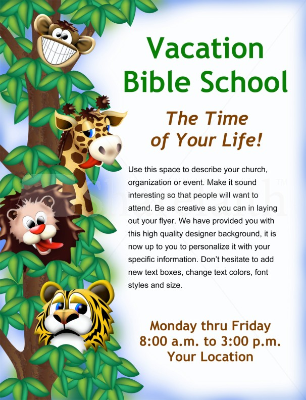 vacation bible school flyer template flyer templates. Black Bedroom Furniture Sets. Home Design Ideas