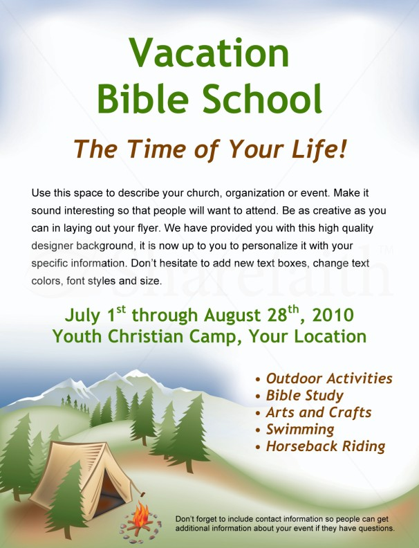 bible camp flyer. Black Bedroom Furniture Sets. Home Design Ideas