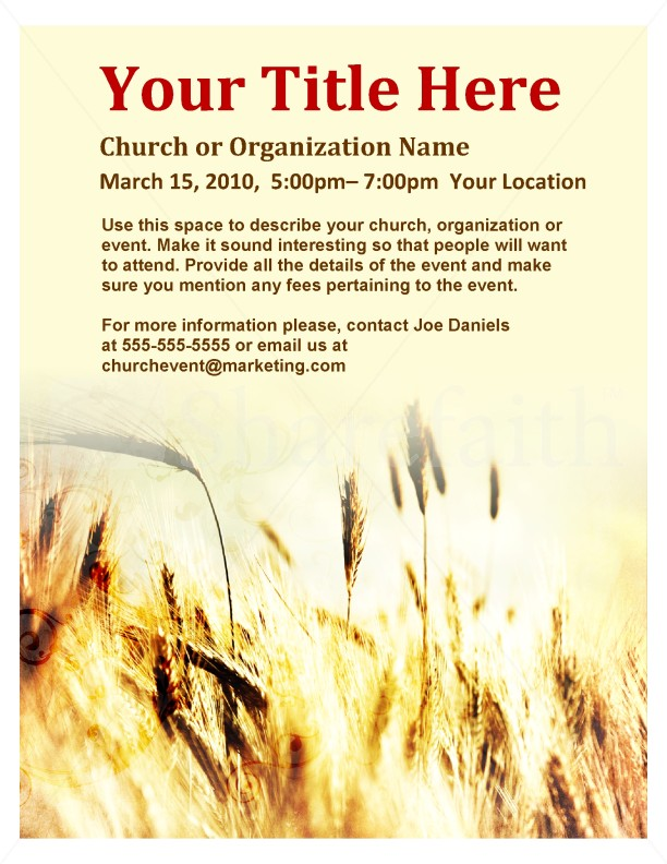 Harvest Flyer Template Flyer Templates - Free church revival flyer template