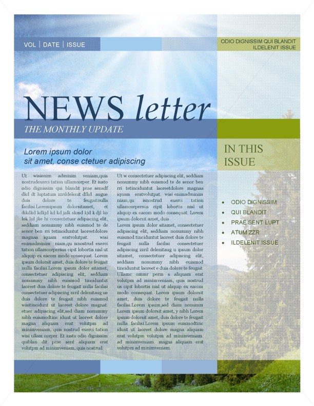 Nature Newsletter Template Template  Newsletter Templates