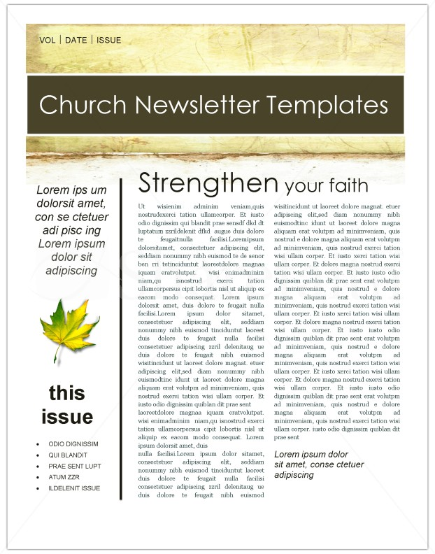 Fall Leaves Church Newsletter Template Template Newsletter Templates - 3 column newsletter template