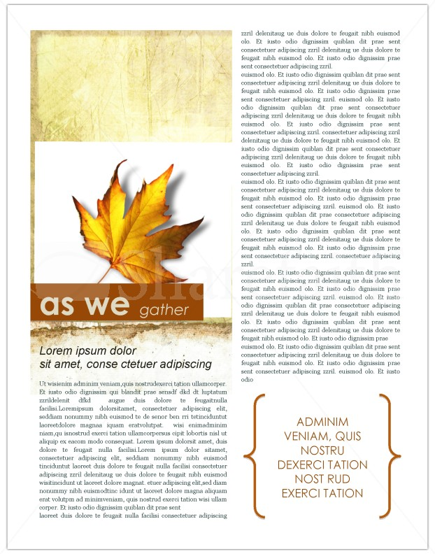 Pictures of Leaves Newsletter Template