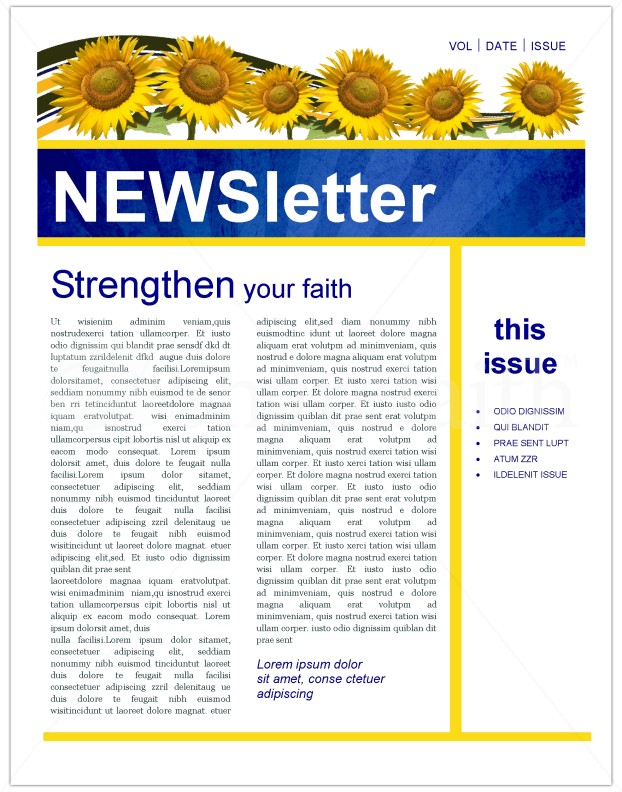 Sunflowers Church Newsletter Template | Newsletter Templates