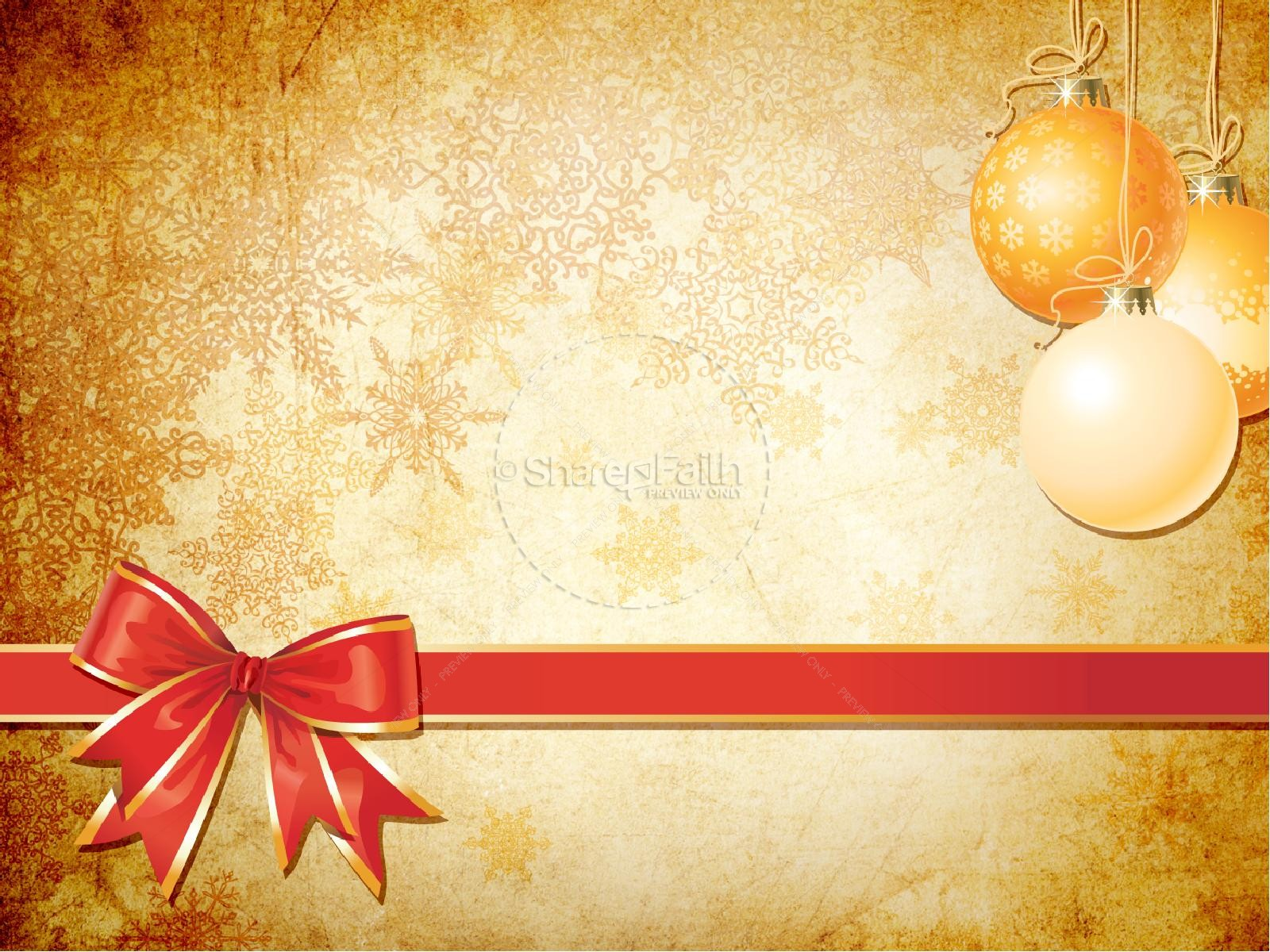 Gold christmas decorations powerpoint template for Free christmas powerpoint templates