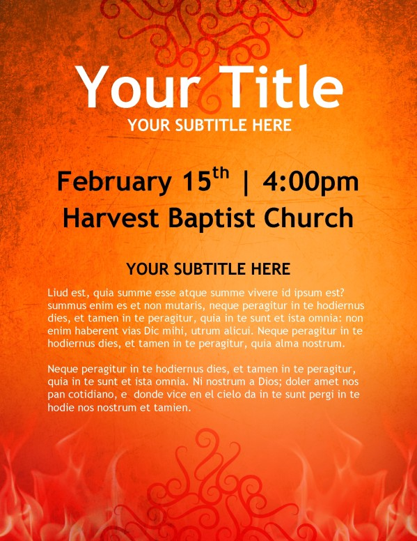 Fiery Orange Church Flyer