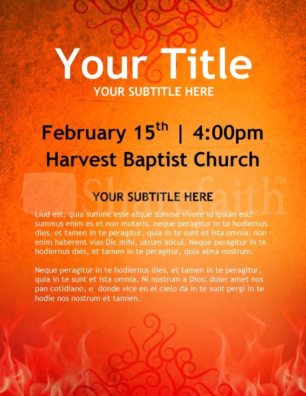 Fiery Orange Church Flyer