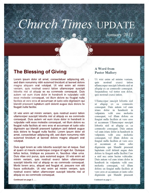 Circle Pattern Church Newsletter Template