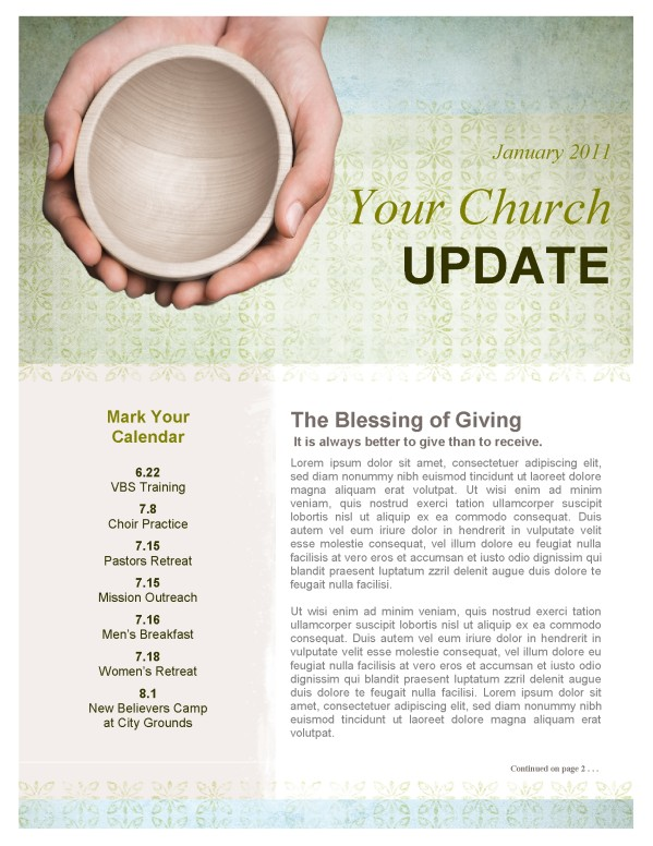 Almsgiving Church Newsletter