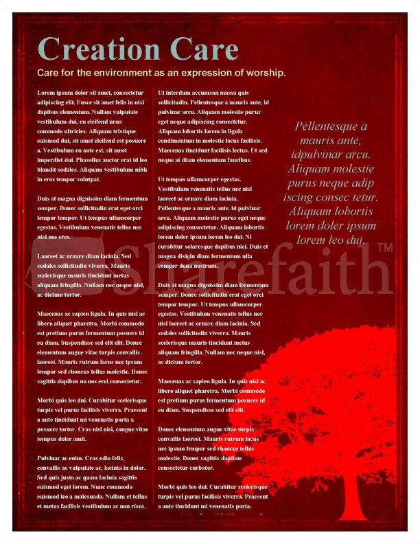 Tree Church Newsletter Template