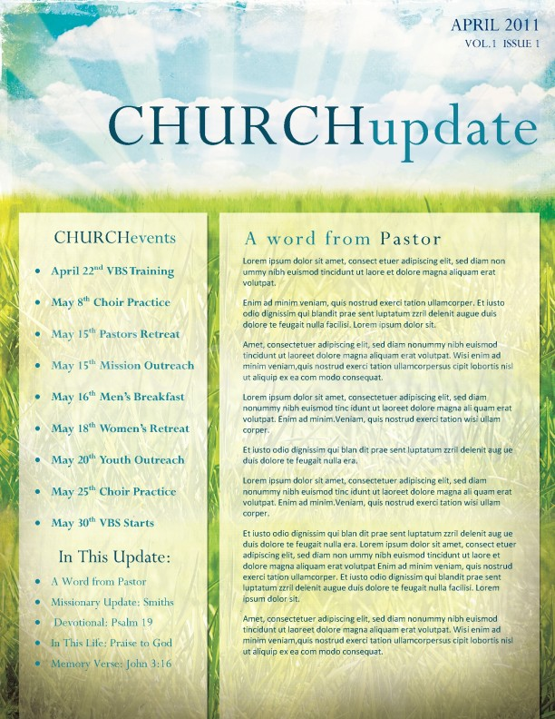 Church Newsletter Spiritual Growth Church Newsletter Template Page