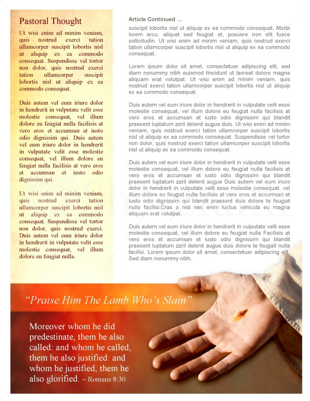 By His Wounds Church Newsletter Template