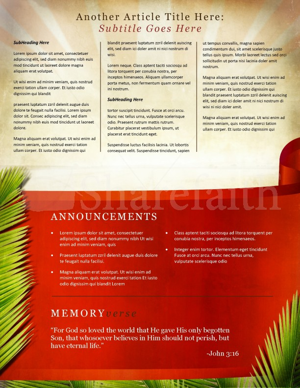 Palm Sunday Jerusalem Newsletter