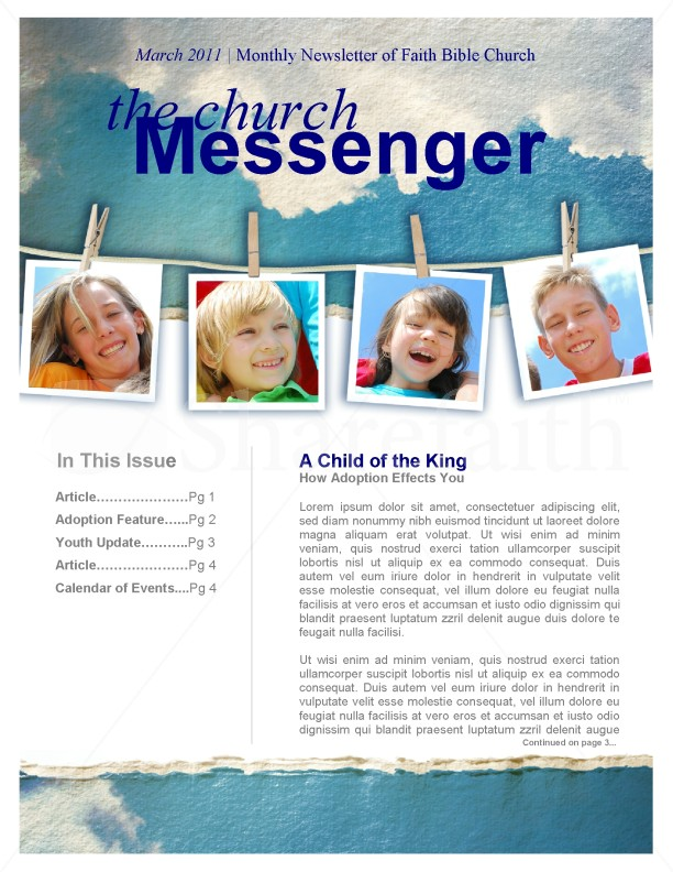 Children Church Newsletter Template | Newsletter Templates
