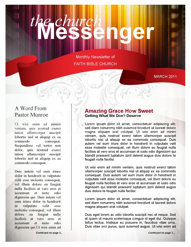 Colors Church Newsletter Template Template  Newsletter Templates