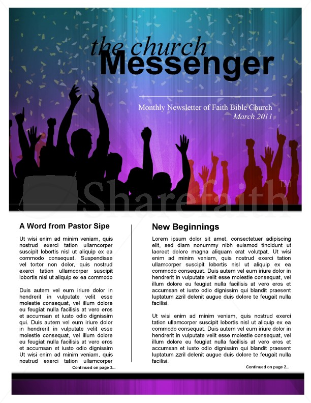 Celebration Church Newsletter Template Template | Newsletter Templates