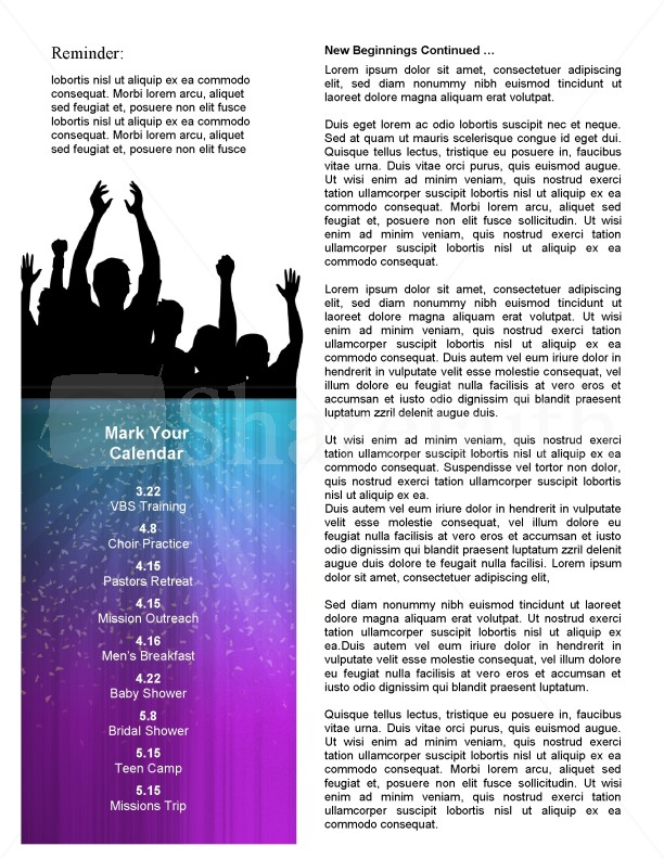 Celebration Church Newsletter Template | page 2