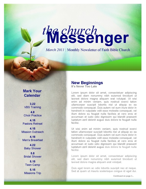 Jesus' Hand Church Newsletter Template Template | Newsletter Templates