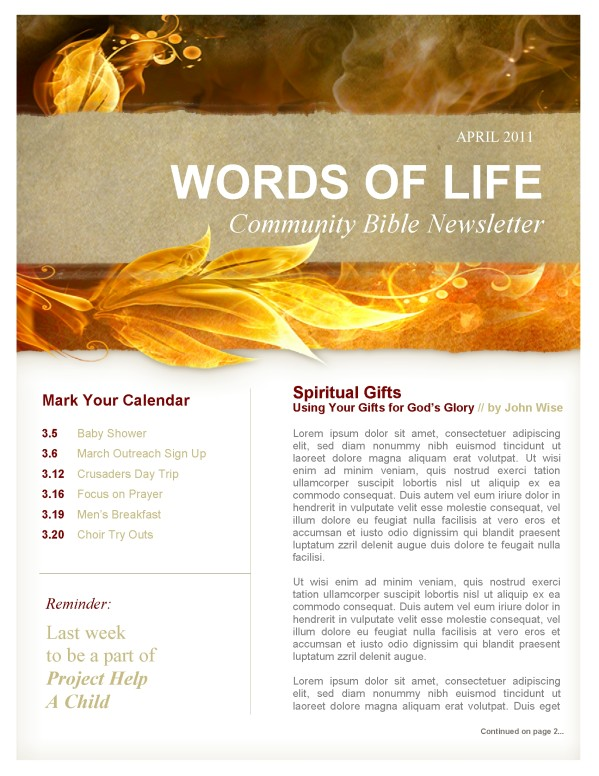 Pentecost Fire Church Newsletter
