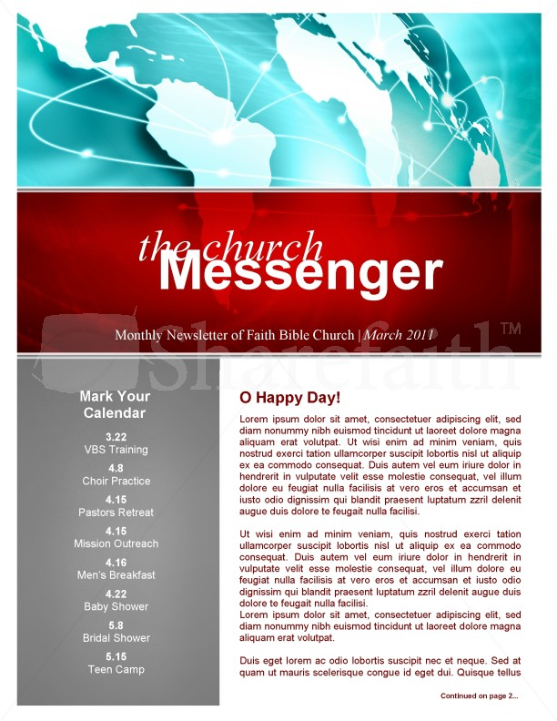 missions church newsletter template template newsletter templates