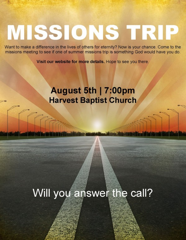 Summer Missions Trip Church Flyer