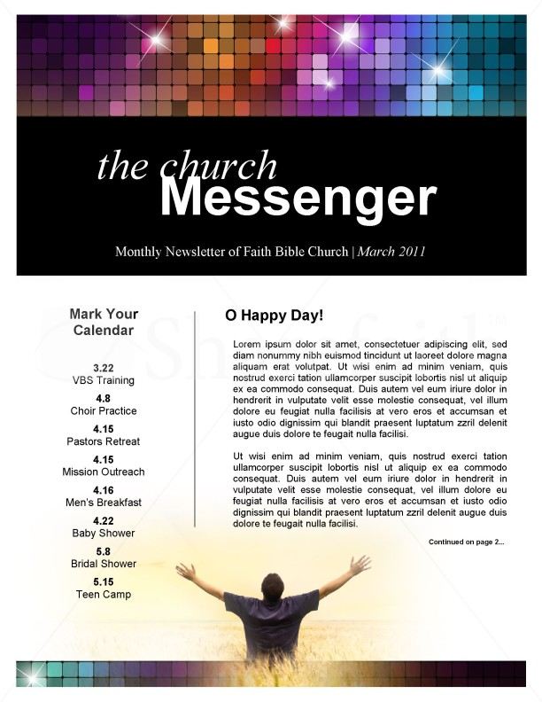 Awaken Church Newsletter Template  Newsletter Templates