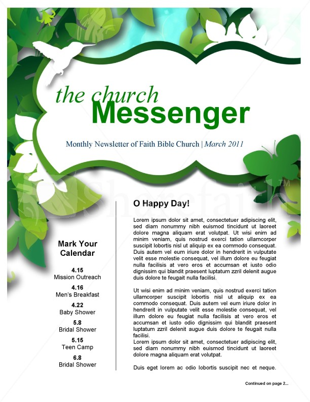Green Leaves Church Newsletter   page 1