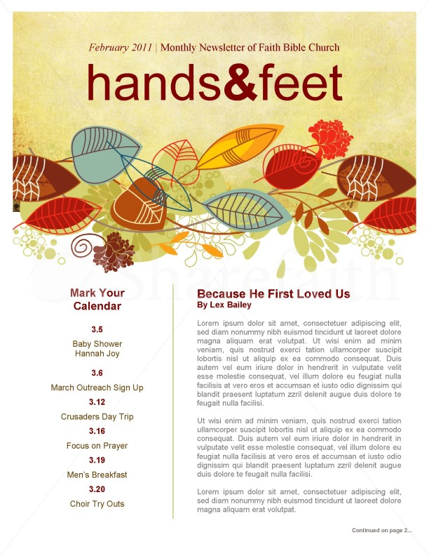 Harvest Church Newsletter Template for Fall
