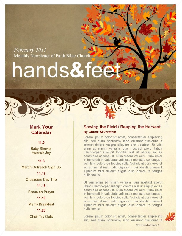 tree in autumn church newsletter template template newsletter