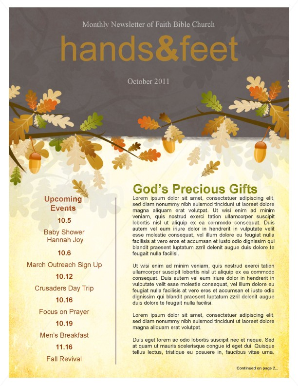 Fall leaves easy church newsletter template template newsletter fall leaves easy church newsletter template spiritdancerdesigns Images