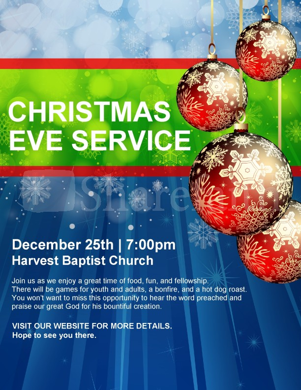 Christmas Service Announcement Church Flyer Template