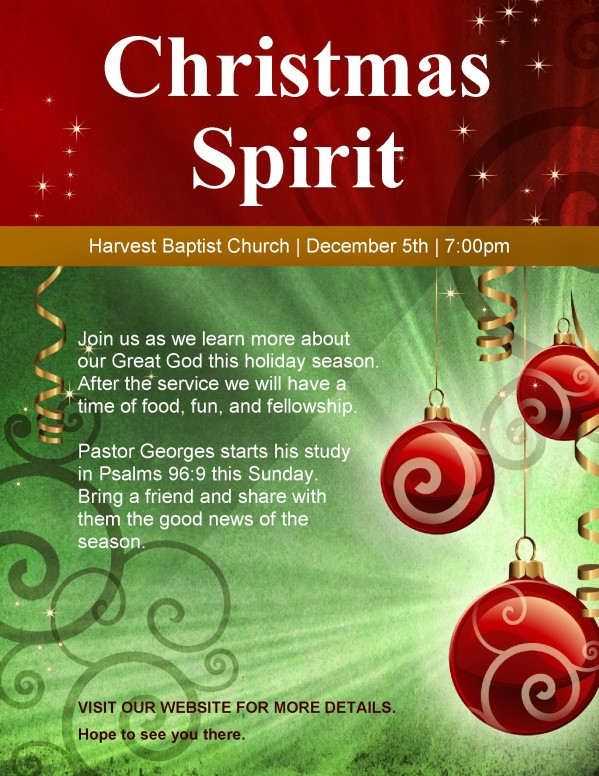 Christmas Spirit Church Flyer