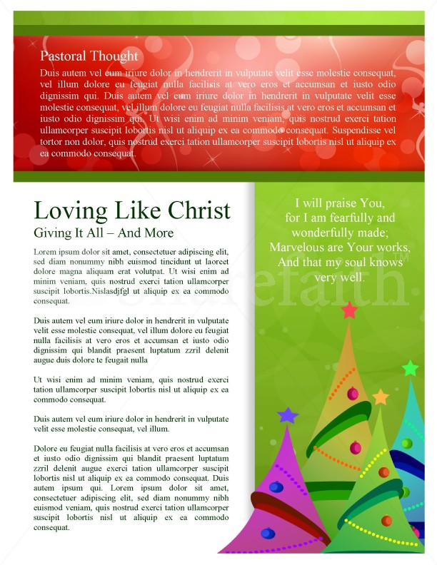 Christmas Tree Newsletter Templates