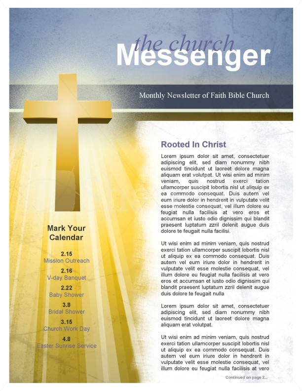 Forgiveness Church Newsletter Template  Newsletter Templates