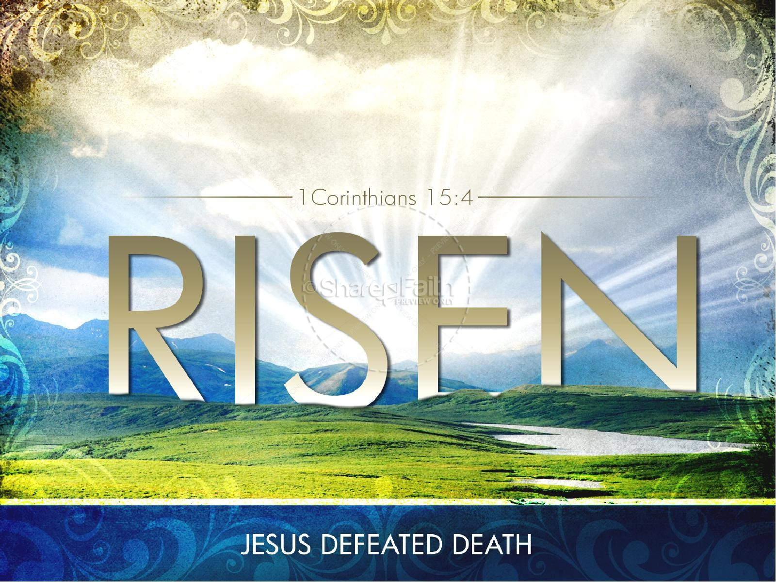 Risen powerpoint template easter sunday resurrection powerpoints risen powerpoint template toneelgroepblik Image collections