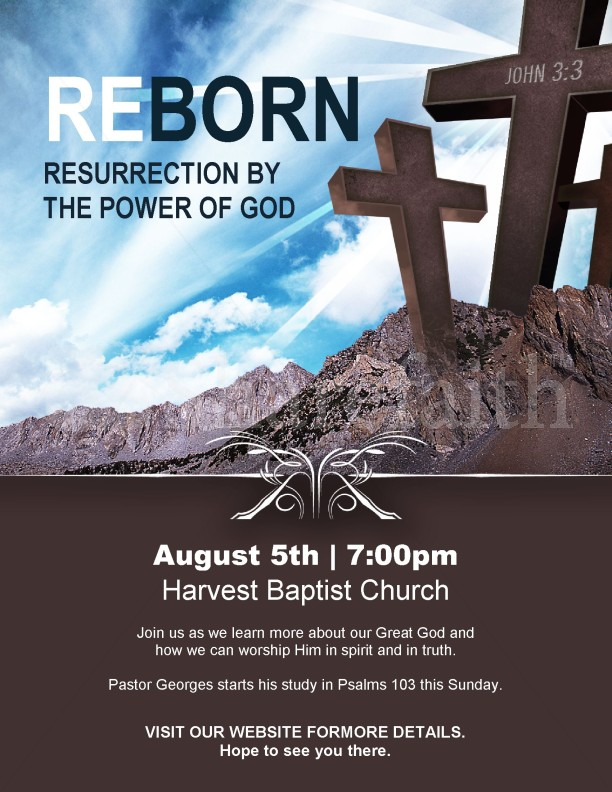 Reborn Church Flyer Template Template | Flyer Templates