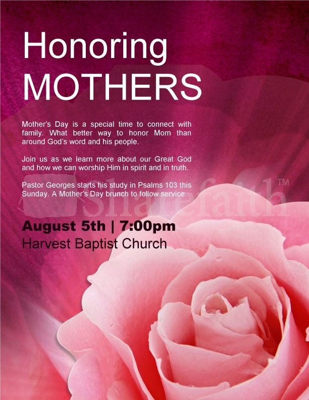 Honoring Mothers Flyer Template  Flyer Templates